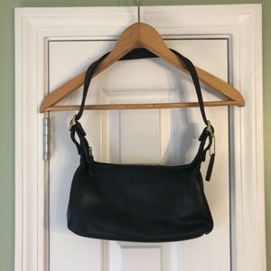 VTG Coach Black Leather Hobo Shoulder Bag